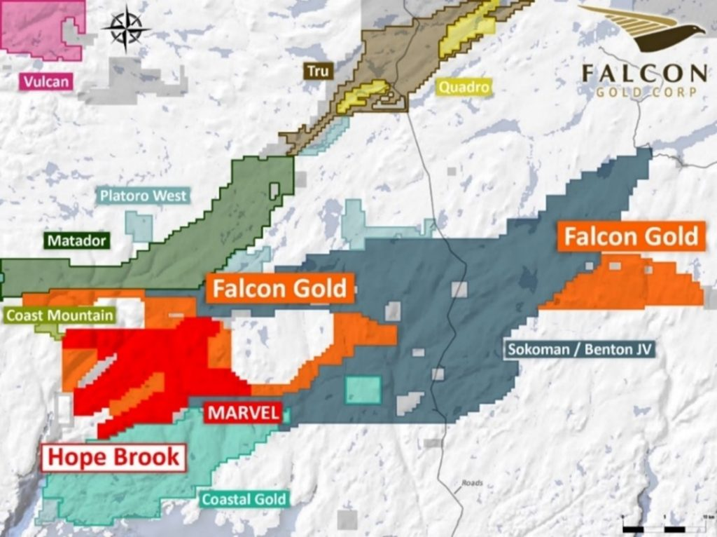 Location of Falcons Hope Brook gold property contiguous to First Mining and the Sokoman Benton joint venture. 1