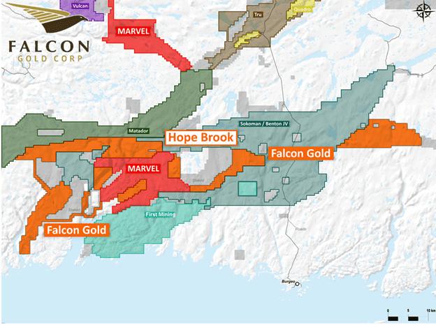 Location of Falcons Hope Brook gold property contiguous to First Mining Matador and the Sokoman Benton joint venture.